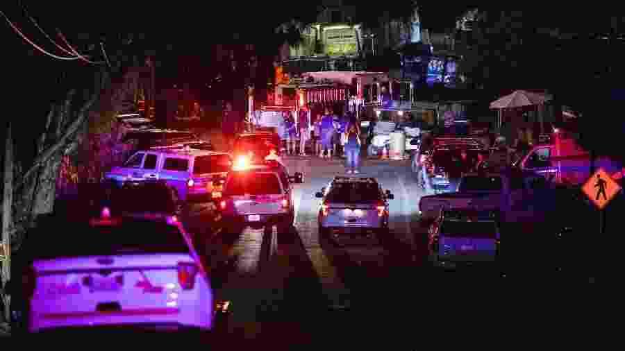 28.jul.2019 - Viaturas da polícia no local onde um atirador abriu fogo em uma feira gastronômica na Califórnia - Philip Pacheco / AFP