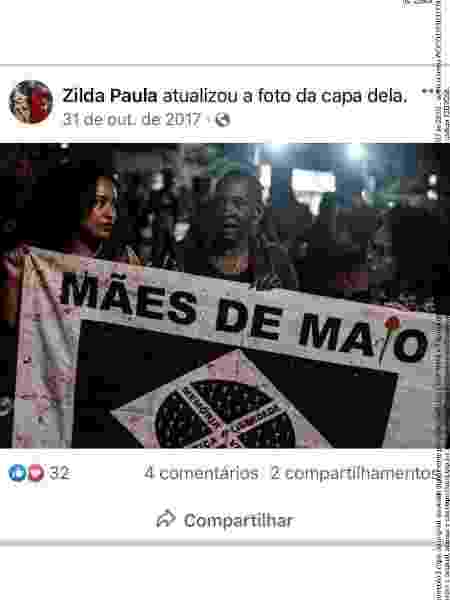 Postagem de Zilda Maria de Paula, líder das mães de Osasco e Barueri, utilizada pela defesa de Cristilder e Manhanhã no julgamento - Reprodução - Reprodução
