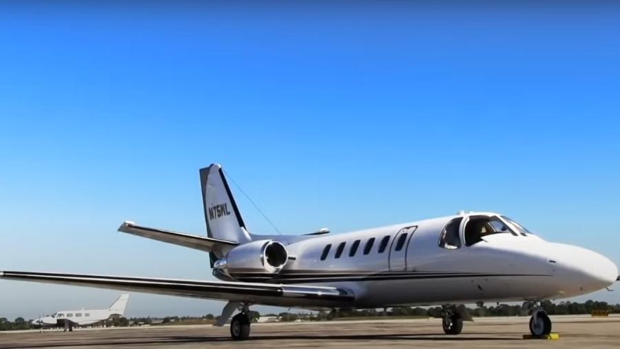 Aeronave seminova a jato da marca Cessna, modelo Citation Bravo C550, adquirida pelo governo do estado de Mato Grosso por R$ 7,7 milhões - Reprodução / YouTube / Imagem Ilustrativa