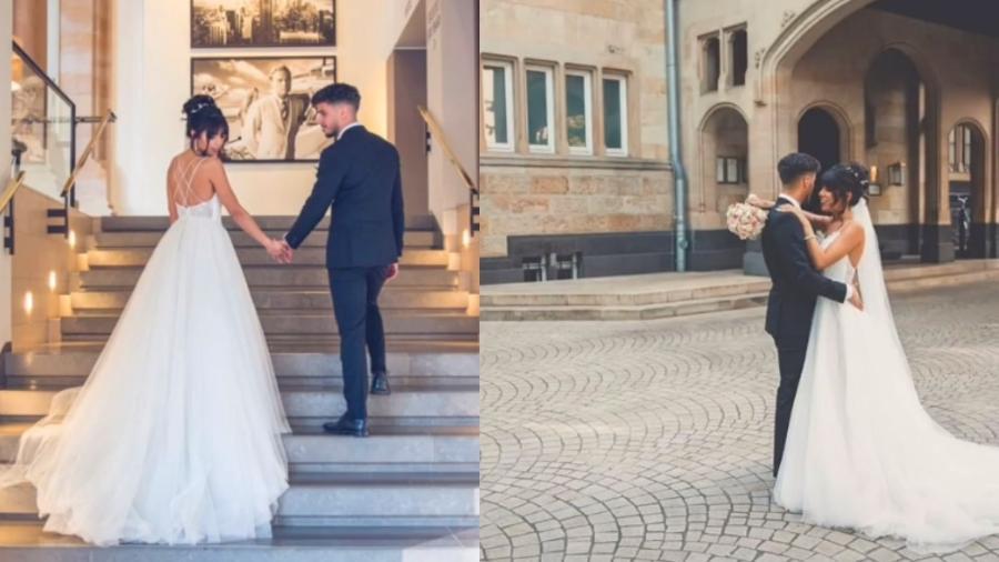 Sarah Vilard, de 24 anos, viralizou no TikTok com vídeo no qual ela diz ter simulado fotos de casamento para se vingar de ex-namorado - Reprodução/TikTok
