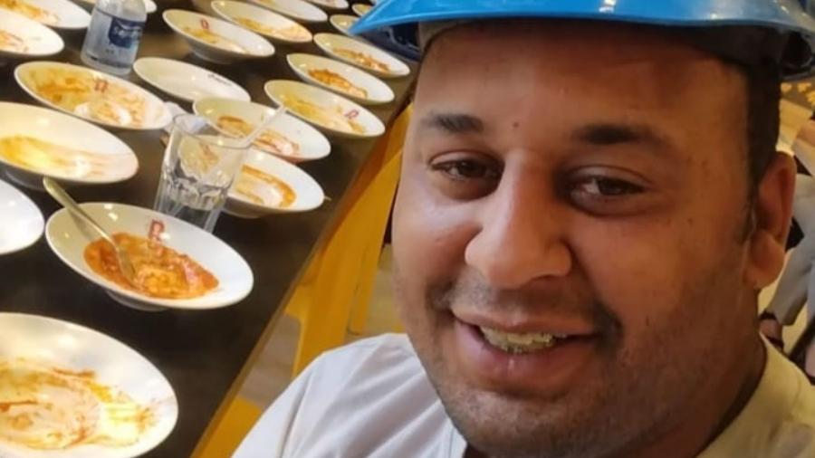 João Carlos Apolonio, de 29 anos, viralizou com vídeo no qual ele mostra ter sido expulso de rodízio por comer 15 pratos de massa - Reprodução/Instagram/@jc_apoloniopinturas