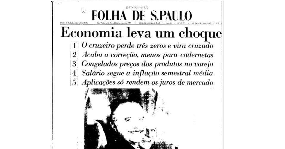 Capa jornal Folha de S.Paulo 28 de fevereiro de 1986