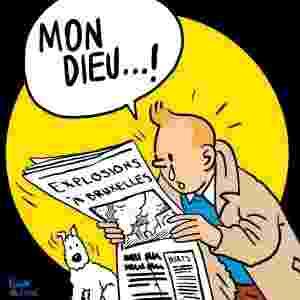 22.mar.2016 - O cartunista colombiano Vladdo usou o mundialmente famoso personagem do belga Hergé, Tintim, em desenho em solidariedade às vítimas dos ataques terroristas coordenados na Bélgica - Reprodução/Twitter/@VLADDO