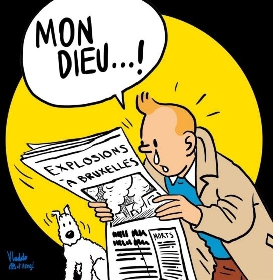22.mar.2016 - O cartunista colombiano Vladdo usou o mundialmente famoso personagem do belga Hergé, Tintim, em desenho em solidariedade às vítimas dos ataques terroristas coordenados na Bélgica