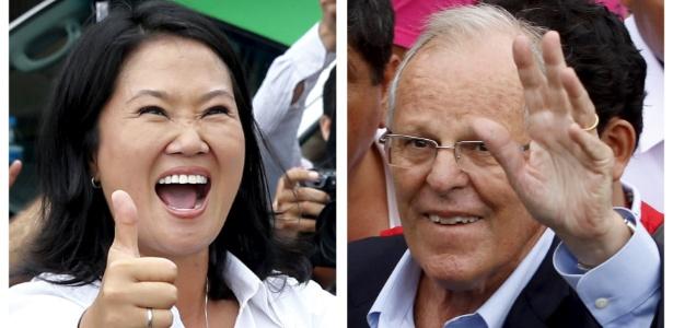 Keiko Fujimori (esq) e Pedro Pablo Kuczynski (dir) disputarão o segundo turno das eleições presidenciais no Peru