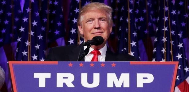 O presidente eleito dos EUA, Donald Trump, durante o discurso da vitória em Nova York