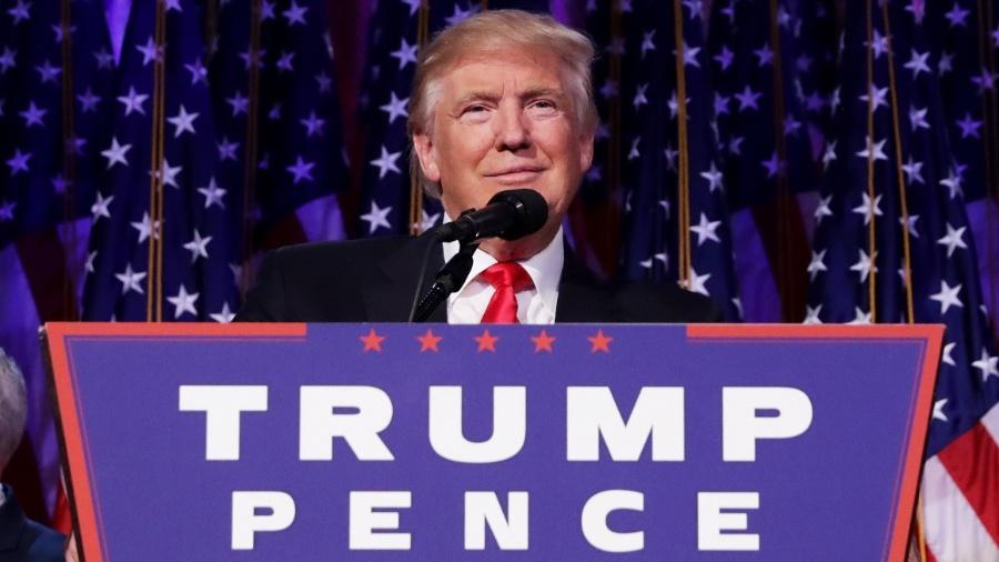 9.nov.2016 - O presidente eleito dos EUA, Donald Trump, faz discurso da vitória no hotel Hilton Midtown, em Nova York - Chip Somodevilla/Getty Images/AFP