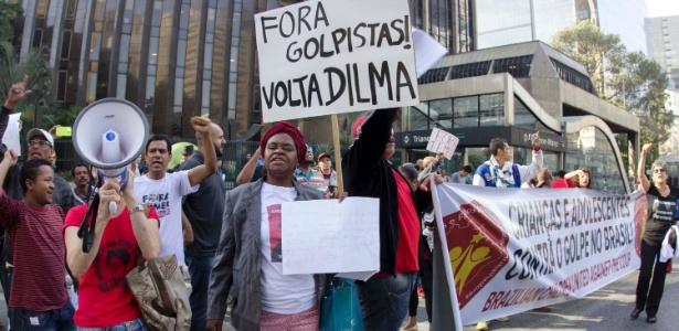 Protesto contra o presidente Michel Temer em frente ao prédio da Fiesp, em SP