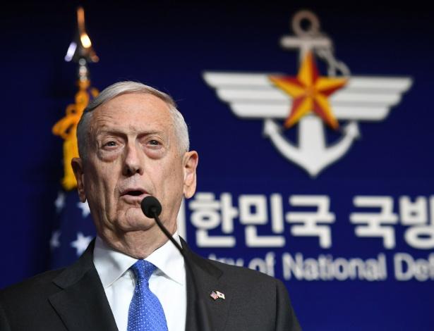 Secretário de Defesa dos EUA, Jim Mattis, em discurso em Seul, na Coreia do Sul