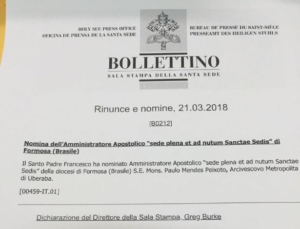 Papa Francisco nomeia interventor para diocese de Formosa (GO) - Reprodução/Vaticano