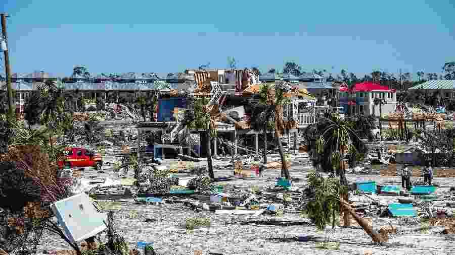 Visão da destruição generalizada deixada pelo furacão Michael em Mexico Beach, na Flórida - Johnny Milano/The New York Times