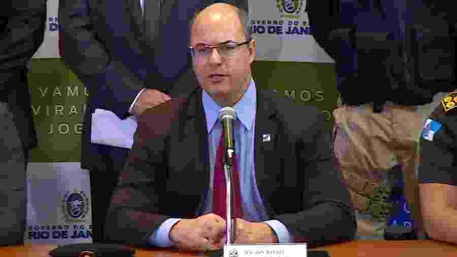 Wilson Witzel durante entrevista coletiva sobre o caso do sequestro de ônibus na Ponte Rio-Niterói - Reprodução