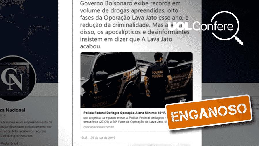 9.out.2019 - Post atribui a Bolsonaro sucesso em segurança com dados fora de contexto - Reprodução/Twitter Crítica Nacional