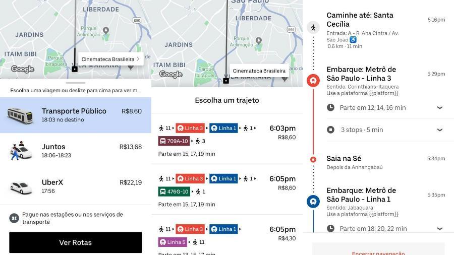 """Uber lança recurso """"Uber Transit"""", que exibe rotas de transporte público em São Paulo - reprodução/Uber"""