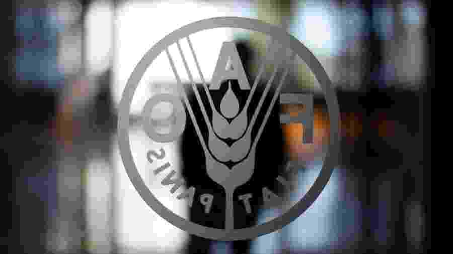 Logo da FAO na sede da organização, em Roma - Alessandro Bianchi