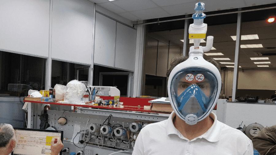Modelo da máscara que será produzida pelos pesquisadores da Unifap para auxiliar em casos de intubação de pacientes com covid-19 - Divulgação Unifap/Ascom
