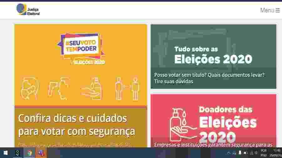 Site da Justiça Eleitoral - Reprodução