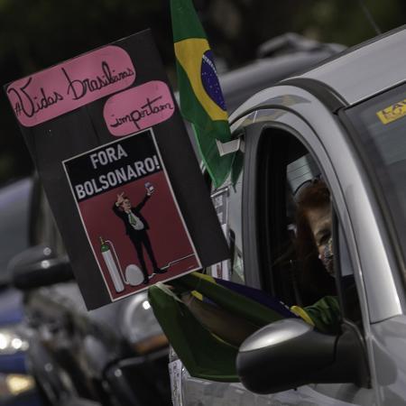 Manifestantes de direita fazem nova carreata contra o presidente Jair Bolsonaro -  Bruno Rocha/Ag. Enquadrar/Folhapress) -  Bruno Rocha/Ag. Enquadrar/Folhapress)