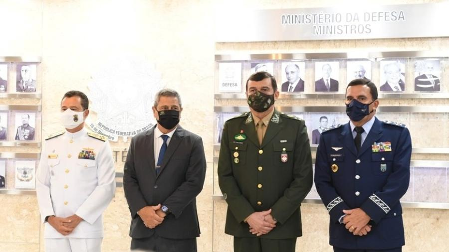 O almirante Almir Ganier, o ministro Braga Neto, o general Paulo Sérgio Nogueira e o brigadeiro Baptista Júnior - Alexandre Manfrim / Ministério da Defesa