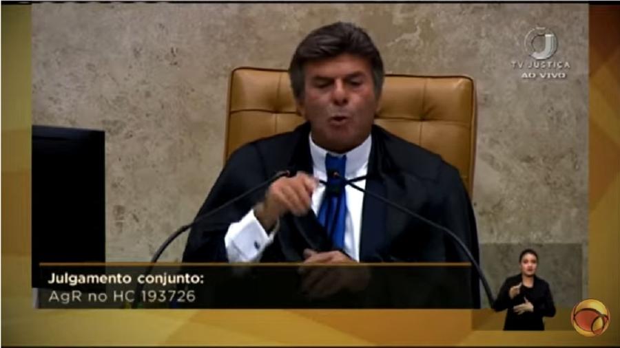 Luiz Fux faz, creio, a maior lambança desde quando assumiu uma vaga no Supremo. Misturou conceitos de direito civil e penal e falou como procurador da Lava Jato. Ocorre que ele é um juiz - Reprodução/Youtube