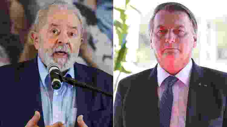 O ex-presidente Lula (PT) e o atual presidente Jair Bolsonaro (sem partido) lideram pesquisas de intenção de voto - Amanda Perobelli/Reuters e Marcos Corrêa/Presidência da República - Amanda Perobelli/Reuters e Marcos Corrêa/Presidência da República