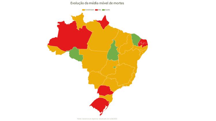 Evolução da média móvel nos estados - 13/6/2021 - UOL - UOL