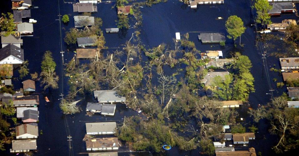 Foto aérea mostra árvores arrancadas pelos ventos do furacão Katrina em 2005