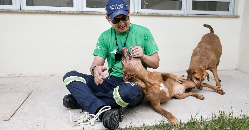 Veterinário Fernado Hosomi do Centro de Controle de Zoonoses de São Paulo brinca com os cães Sheeva e Cacau