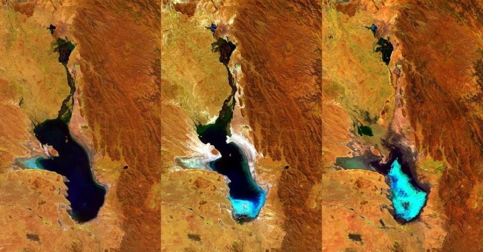 Imagens dos últimos três anos revelam evaporação do lago Poopó, na Bolívia. Agência europeia aponta mudanças climáticas, El Niño e retirada de água para mineração e agricultura como responsáveis pelo desastre