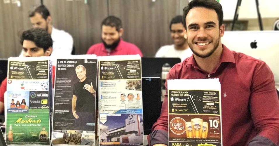 O empresário Diego Castro é dono da PremiaPão, de Recife (PE). A franquia faz publicidade em saco de pão