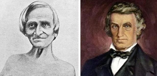 O paciente Alexis St. Martin (à esq.) e seu médico, William Beaumont (à dir.)