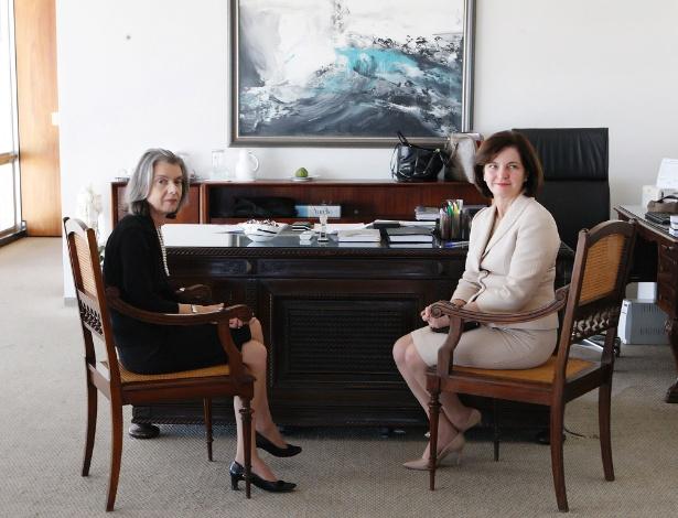 Raquel Dodge (à direita), em audiência com a ministra Cármen Lúcia, presidente do STF