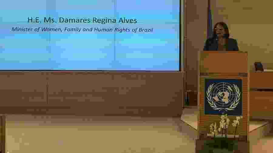 Em 2019, ministra Damares Alves esteve na ONU e lançou candidatura para órgão criticado por Bolsonaro - Jamil Chade/UOL