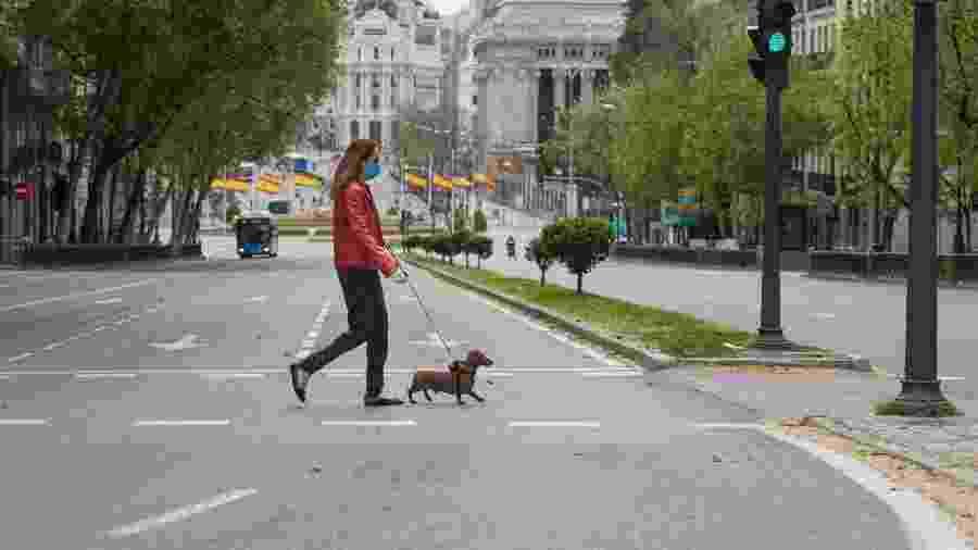 Ruas de Madri, na Espanha, vazias durante a pandemia causada pelo novo coronavírus - Miguel Pereira / Getty Images