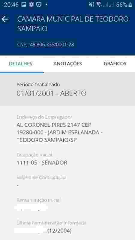 Registro de senador na carteira de trabalho de Silva - Arquivo Pessoal - Arquivo Pessoal