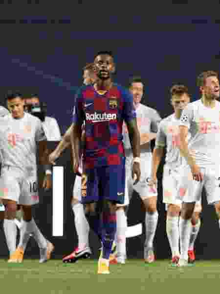 Jogadores do Bayern comemoram um dos gols contra o Barcelona no Estádio da Luz, em Lisboa - RAFAEL MARCHANTE