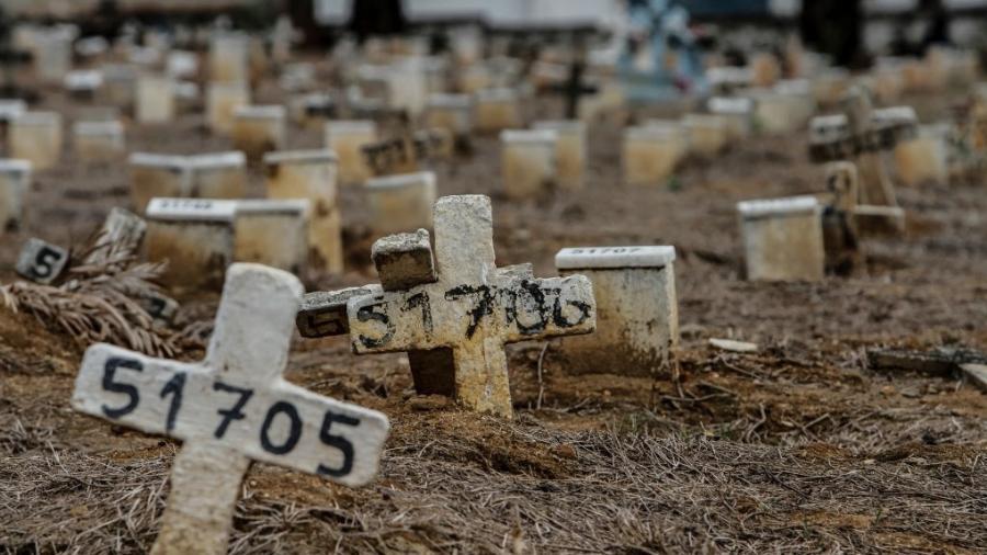 16.07.2020 - Vista do cemitério do Caju, no Rio de Janeiro, onde houve aumento de sepultamentos por causa da covid-19 - Luis Alvarenga/Getty Images