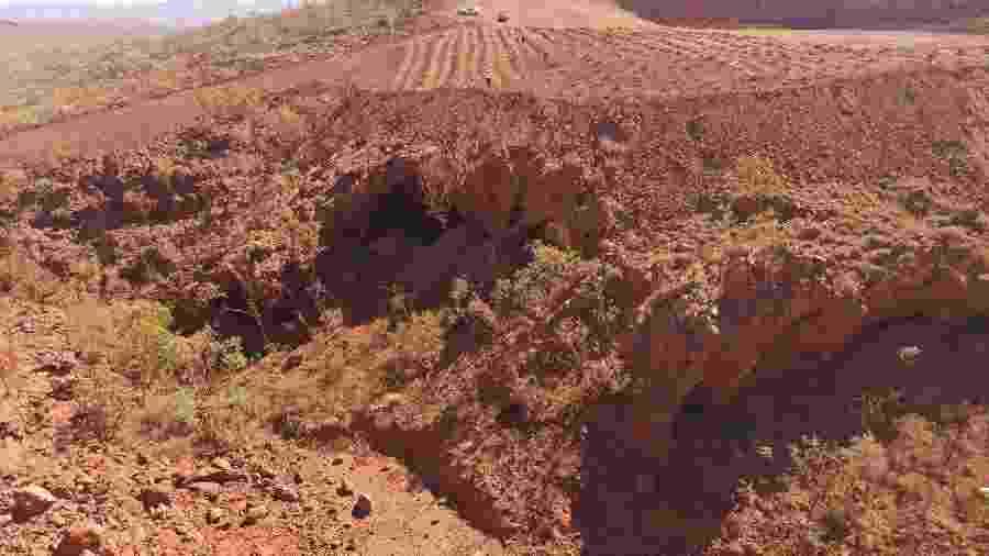 Caverna de 46 mil anos no desfiladeiro de Juukan foi destruída pela mineradora Rio Tinto - HANDOUT/AFP