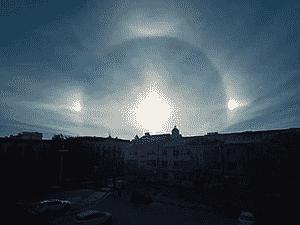 O efeito óptico também pode acontecer com a luz da Lua, mas é ainda mais raro - Weibo/Centro Meteorológico de HeiLong Jiang - Weibo/Centro Meteorológico de HeiLong Jiang