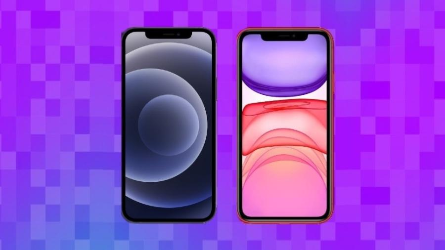 iPhone 12 (esq.) x iPhone 11 (dir.) lado a lado: ambos possuem tela de 6,1 polegadas - UOL