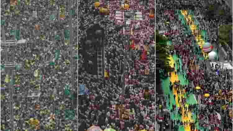 fotos aéreas - Estadão Conteúdo/AFP/Reprodução Montagem/UOL - Estadão Conteúdo/AFP/Reprodução Montagem/UOL