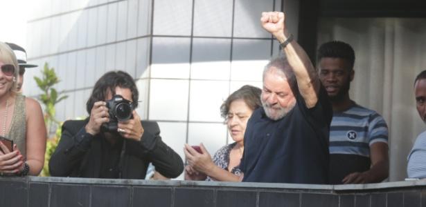 O ex-presidente Lula, após ser alvo de condução coercitiva em março de 2016