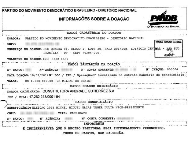 Recibo de doação da Andrade Gutierrez para o então candidato a vice-presidente Michel Temer - Reprodução