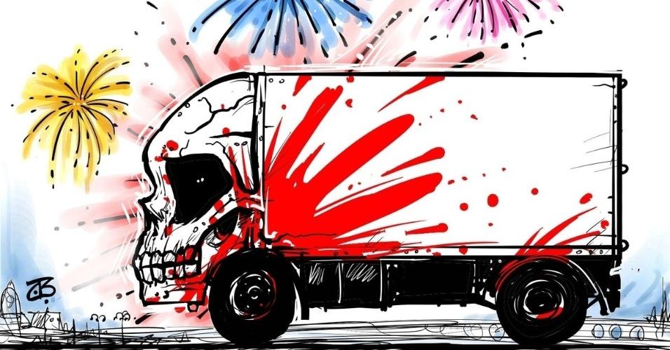 15.jul.2016 - A tragédia em meio aos festejos do Dia da Bastilha em Nice é retratada por Emad Hajjaj