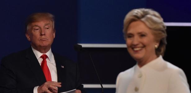O candidato republicano Donald Trump e a democrata Hillary Clinton participam do último debate presidencial