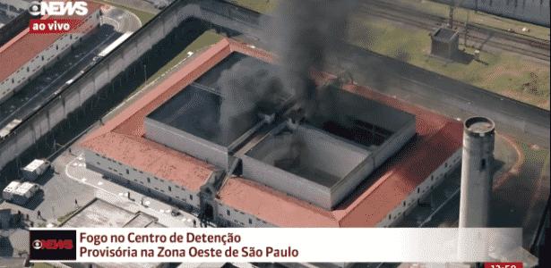 24.jul.2017 - CDP Pinheiros pega fogo no início da tarde desta segunda-feira - Reprodução/Globo News