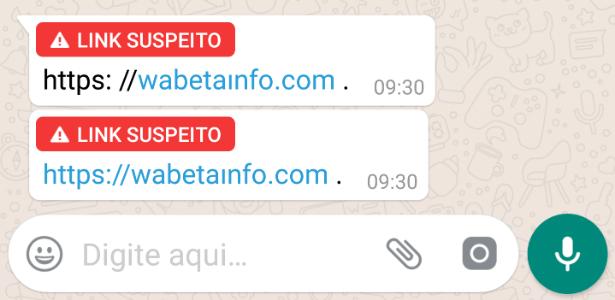 Mensagem do WhatsApp indicando que o link enviado é suspeito