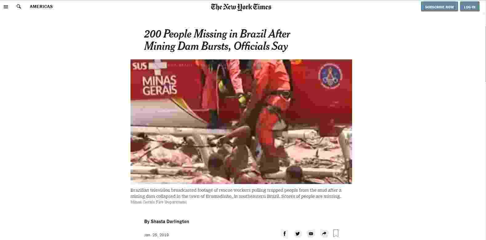 Desastre em Brumadinho ganha destaque em páginas de veículos internacionais - Reprodução/nyt.com