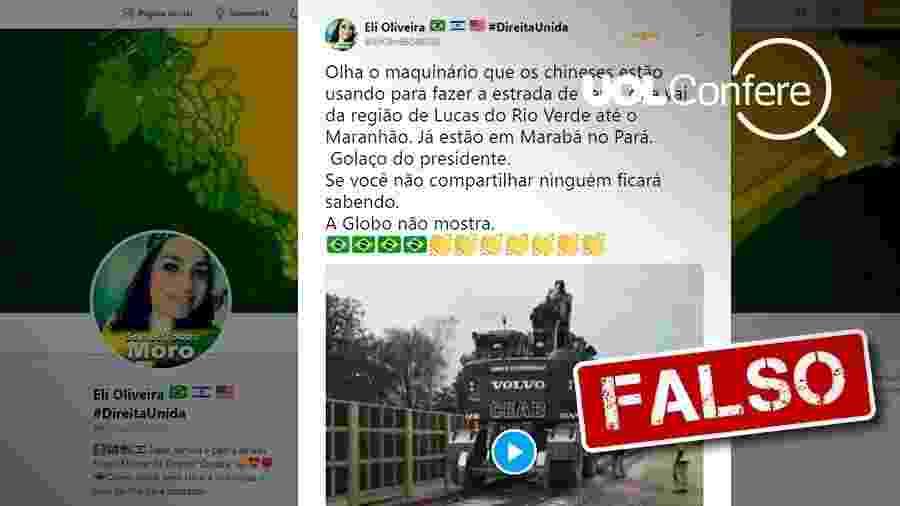 28.ago.2019 - Post falso sobre suposta ferrovia construída por chineses - Arte/UOL