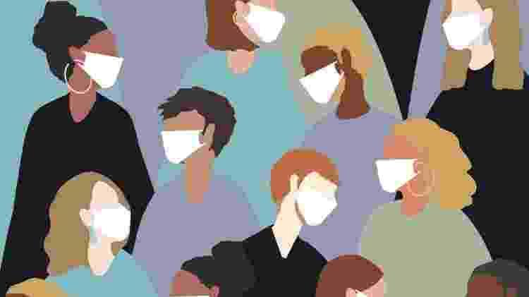 Ilustração pessoas de máscara - Getty Images - Getty Images